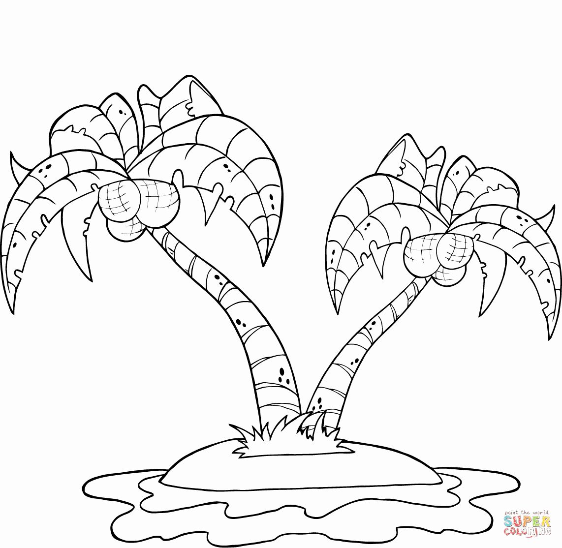 Palm Leaf Coloring Page Fresh Coconut Palm Trees On Island