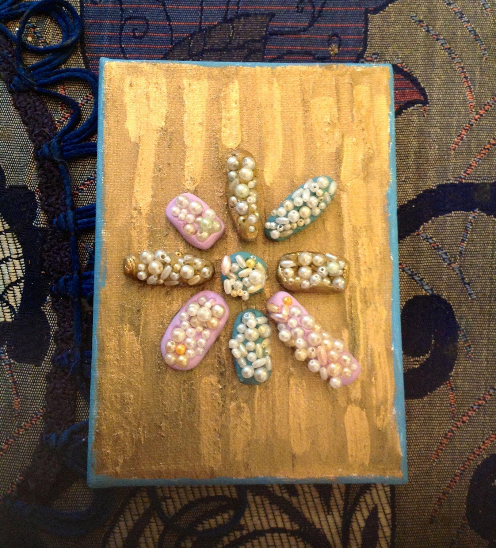 art ,mini wall art decor clay ,beads 24 k gold glided on canvas ...
