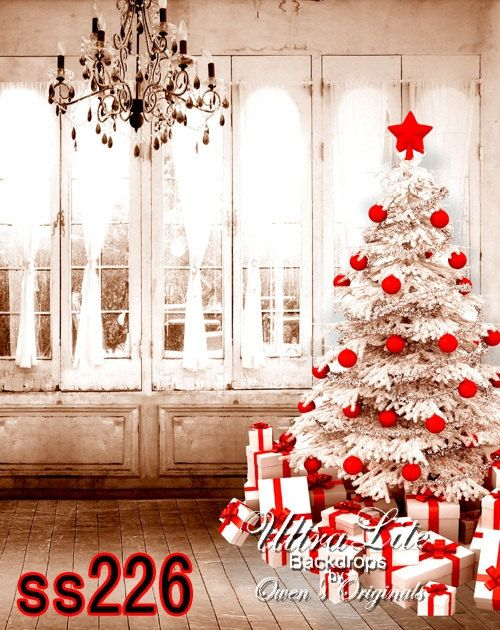 Photography Backdrop Christmas White Tree Red Decorations Photo Background 5x7 Ft Christmas Photography Christmas Background Christmas Photography Backdrops