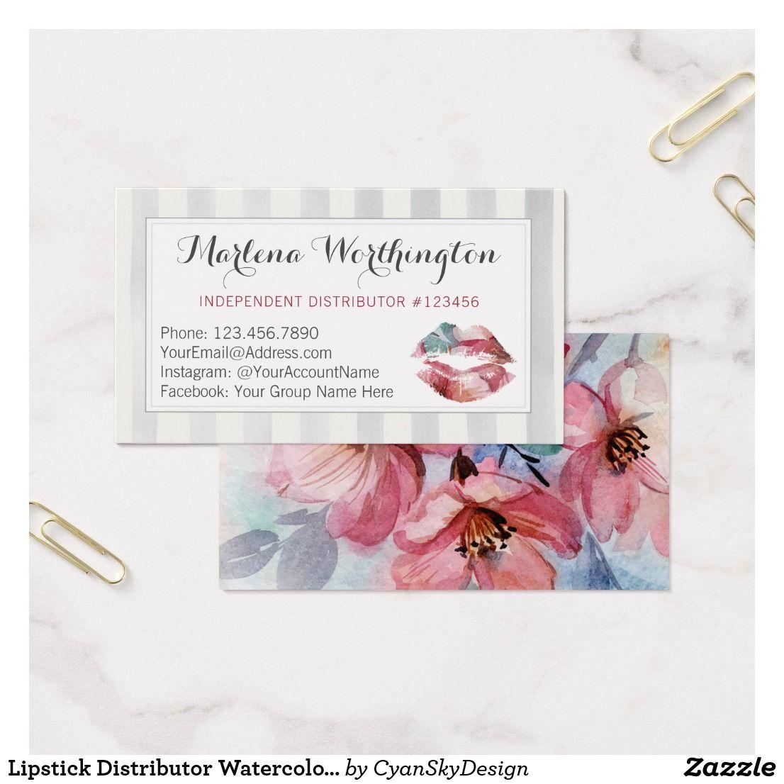 Lipstick Distributor Watercolor Kiss Plain Back Business Card
