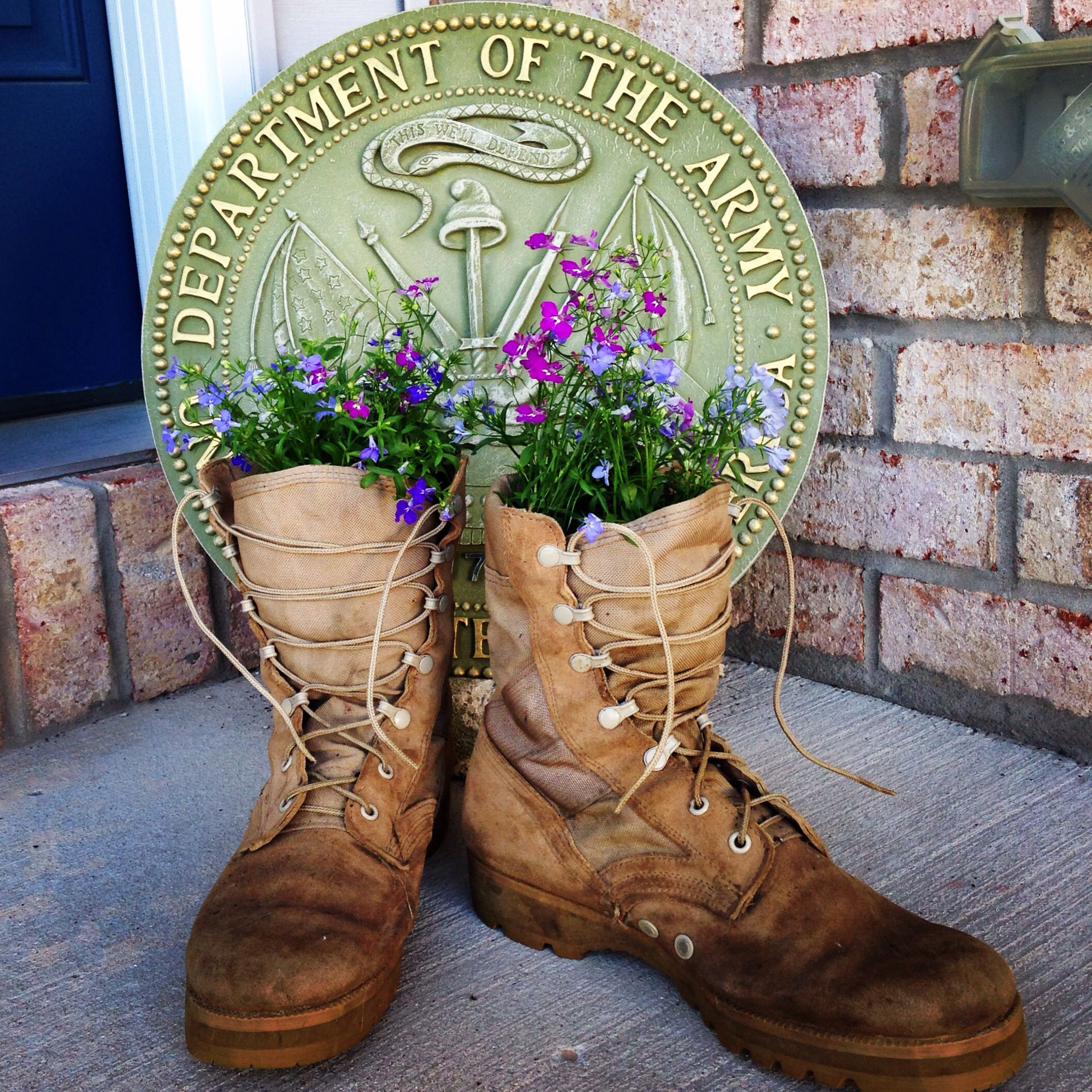 Military Boots As Planters Outdoor Fun Combat Boots