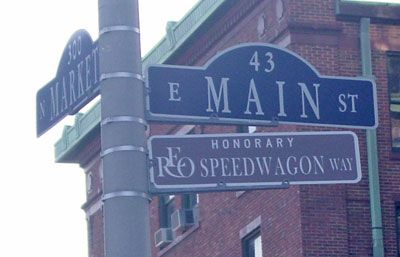 Honorary street sign for REO Speedwagon, a Champaign-based band!    Centennial high school, Washington elementary school, Champaign