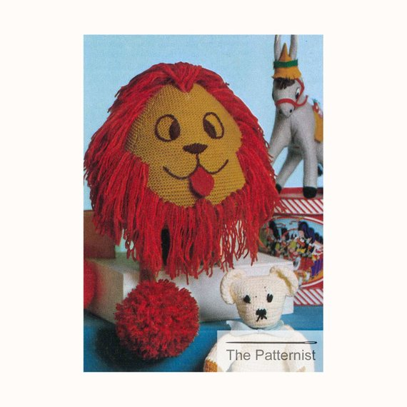 Vintage Knitting Pattern for Stuffed Animal Toy Lion Big Cat with