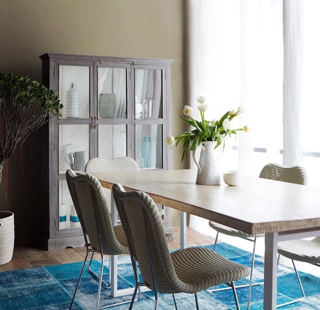 Teak Whitewashed Dining Table With White Steel Base 180 Teak
