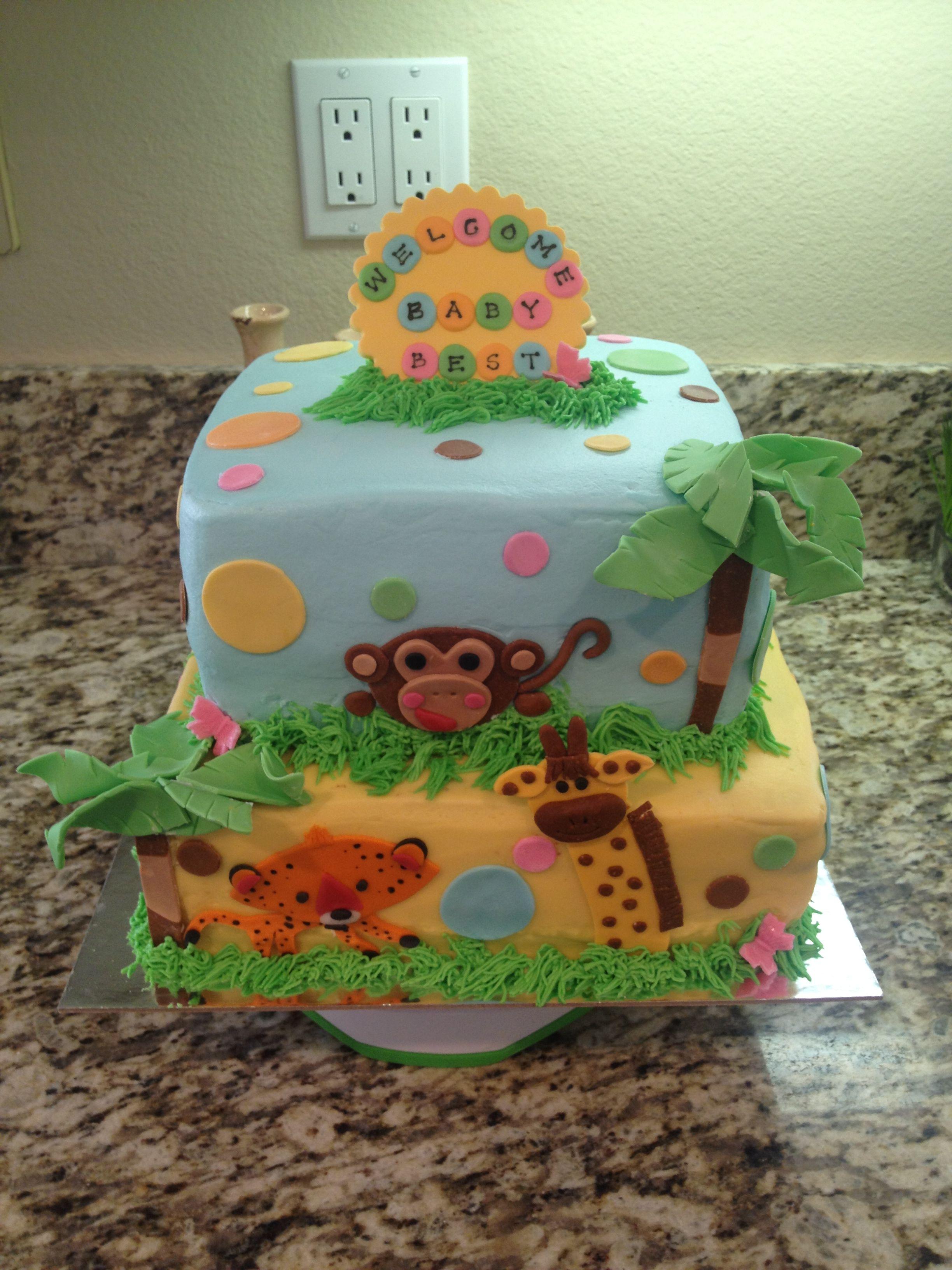 Zoo animals - baby shower cake   cakes   Pinterest ...