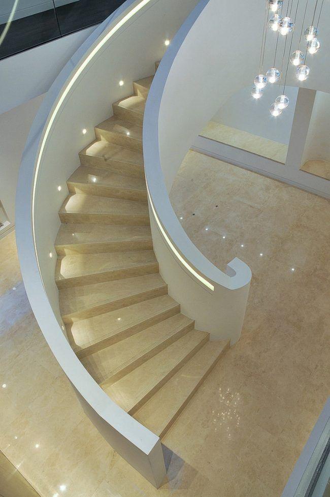 led treppenbeleuchtung innen ideen, led-treppenbeleuchtung-innen-ideen-wandeinbau-handlauf-eingebaut, Design ideen