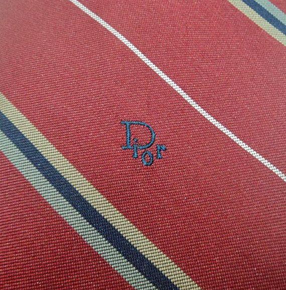 Christian Dior Krawatte Streifen Muster Burgunder von MidiGras