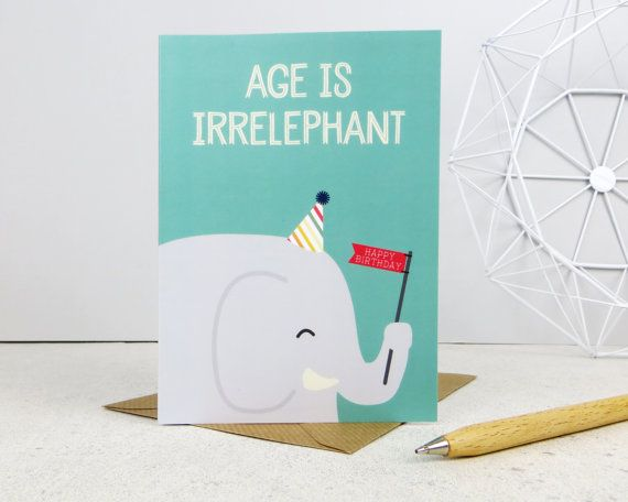 Funny Elephant Birthday Card Cute Animal Birthday Happy Birthday