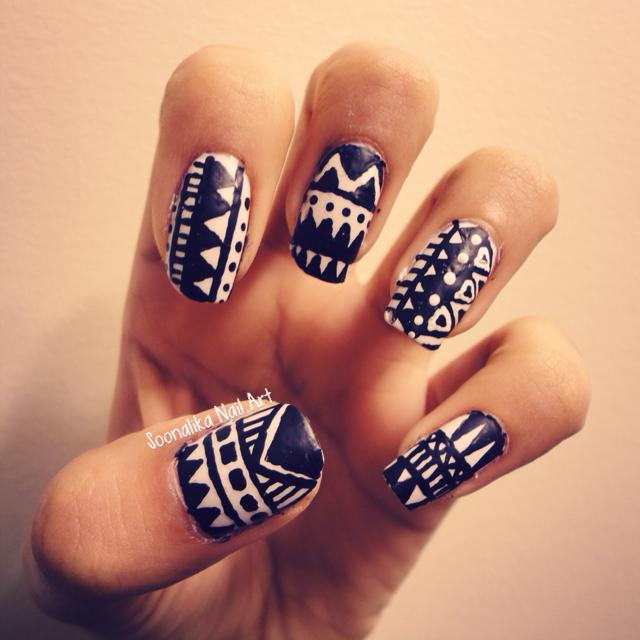 Black And White Tribal Nails Nailart Nails Nailideas My Nail