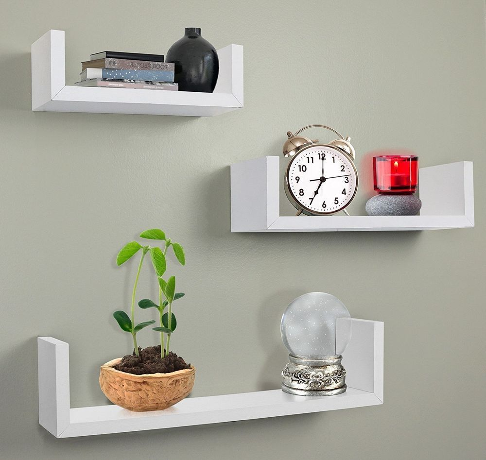 Melannco Floating Shelves Captivating Floating Shelves Wall Mount Shelf Wood White Home Decor Set Of 3 Decorating Inspiration
