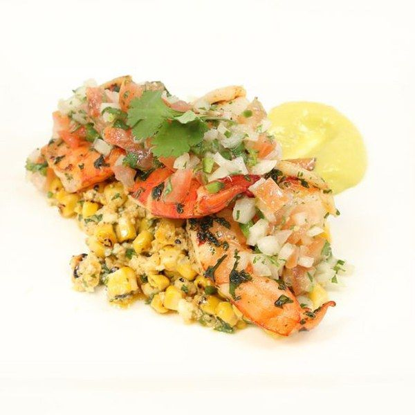 Grilled Street Corn Salad with Cilantro Butter Shrimp, Pico de Gallo and Avocado Purée