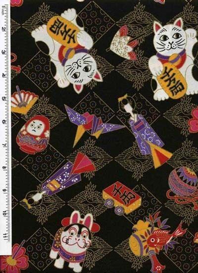 maneki neko lucky cat pattern Traditional indigo basics quilting cotton