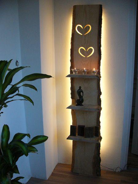 xxl wandleuchte regal holz inkl led beleuchtung von peka ideen auf deko. Black Bedroom Furniture Sets. Home Design Ideas