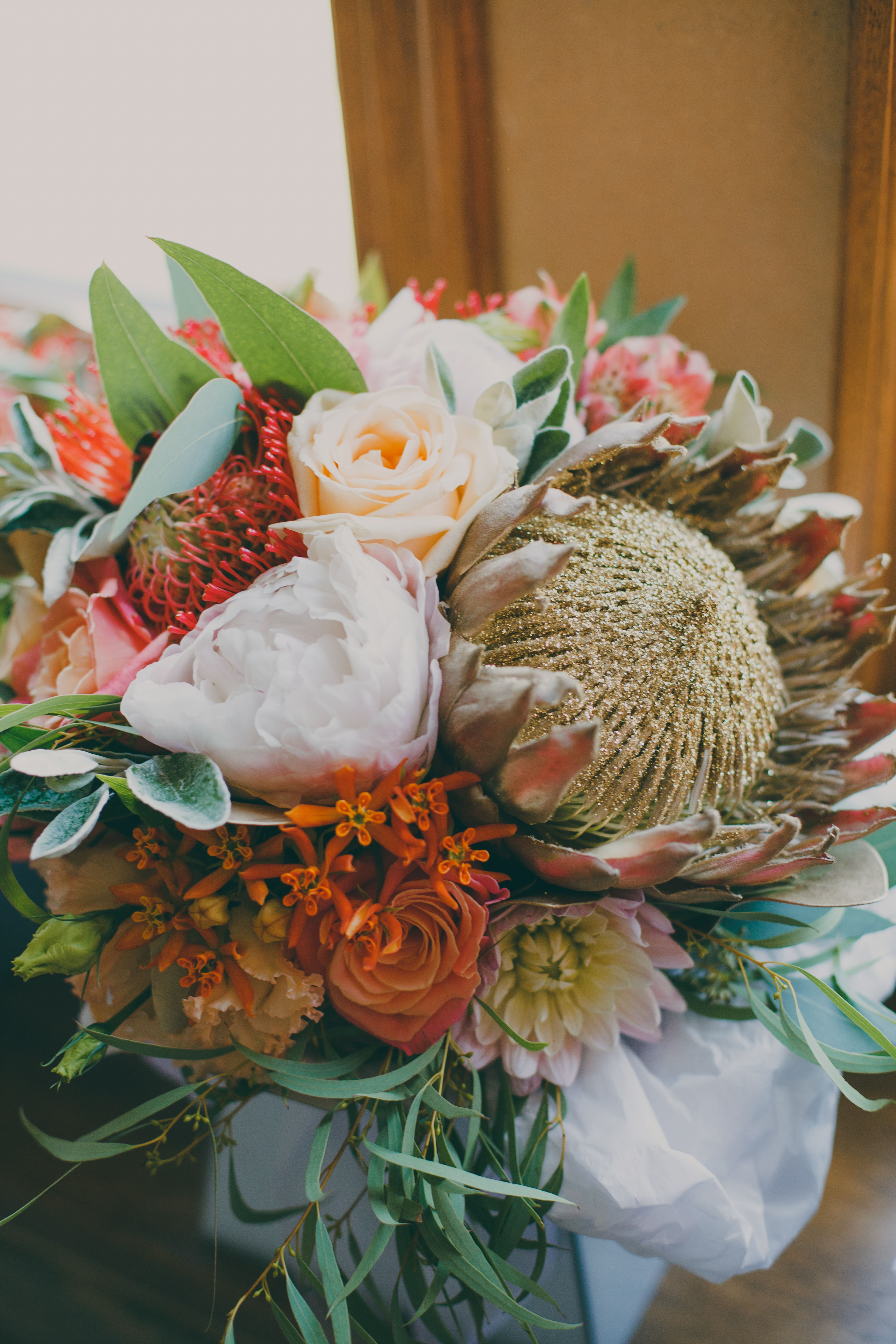 Gold Glitter Protea Bride Bouquet South African Inspired With Pretty Summer Blooms Surrey Wedding