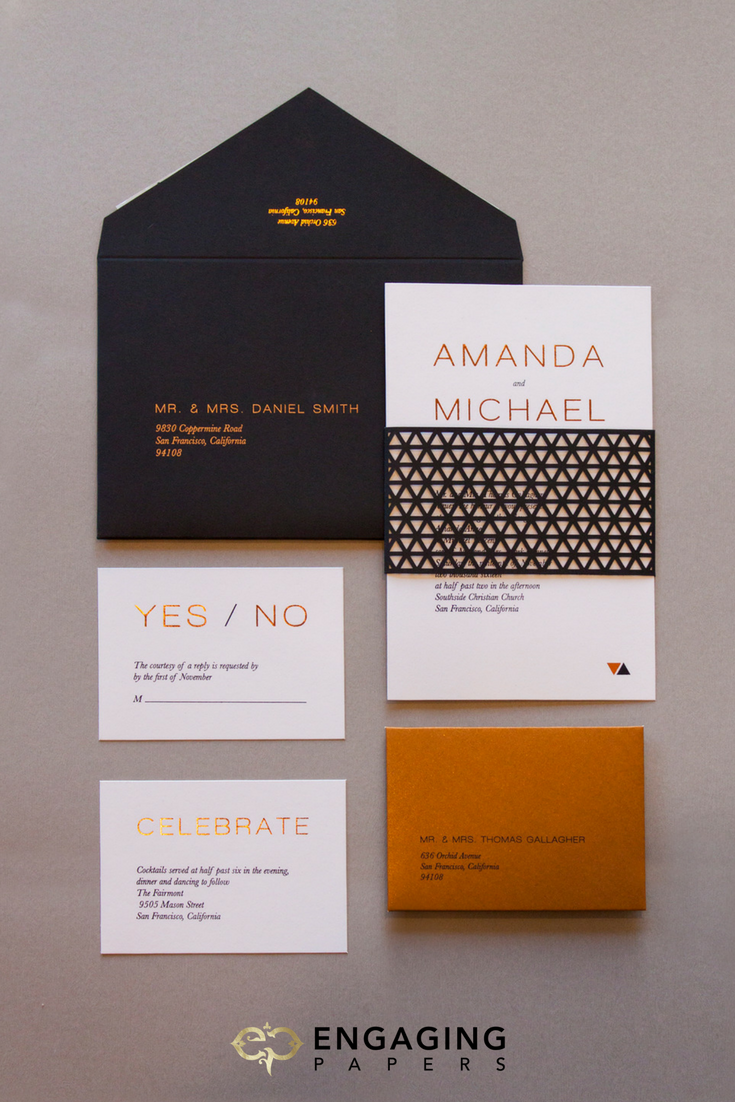 Custom sleek and modern wedding invitation suite with a geometric bellyband and copper foil details.