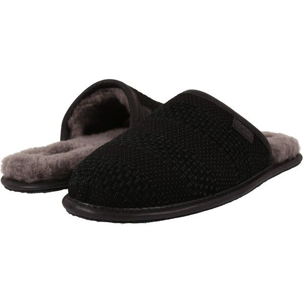 Mens Slippers UGG Scuff Weave Black Suede