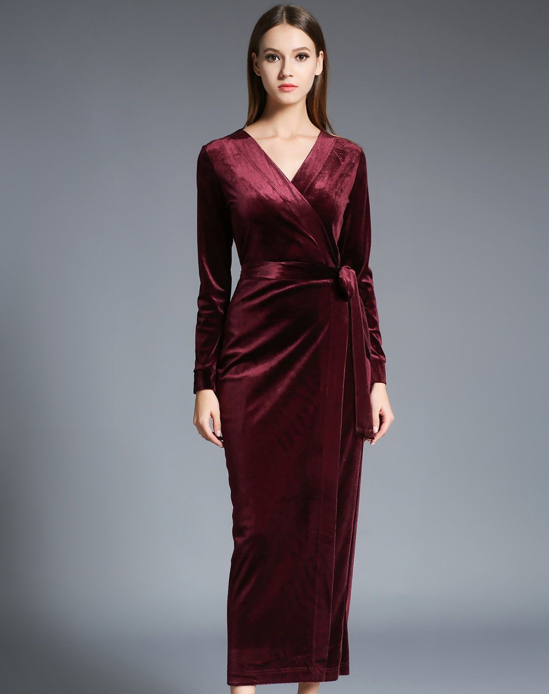 Adorewe fwaysby wine surplice neck long sleeve belted midi dress