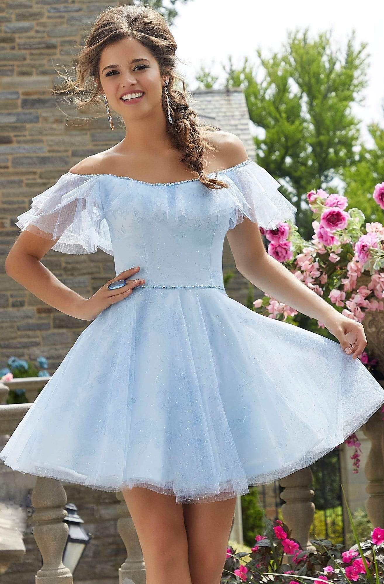 Mori Lee 9542 Off Shoulder A Line Cocktail Dress In 2021 Tulle Party Dress Prom Dresses Short Blue Dama Dresses [ 2000 x 1314 Pixel ]