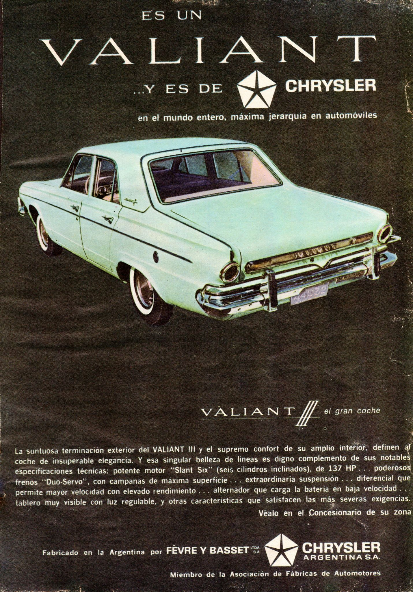 1965 Valiant Iii Ad Argentina Automobile Advertising Car Advertising Vintage Ads