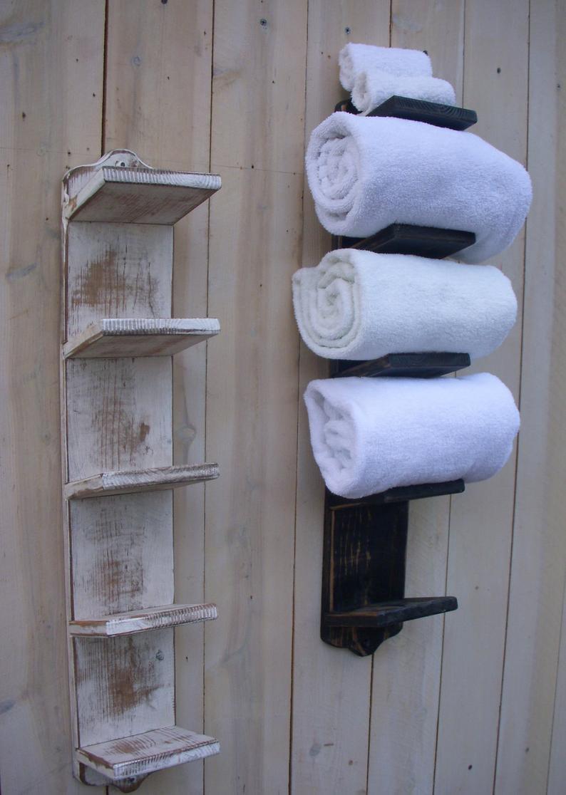 Wall Towel Rack Shelf Distressed Shelves Wall Storage For Bath Etsy Rustic Towels Bathroom Towel Storage Diy Towels