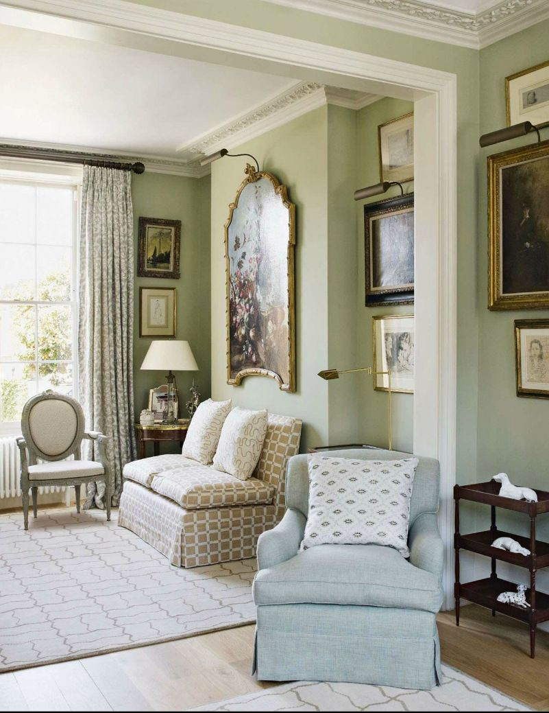 Traditional style living room with soft neutral walls and