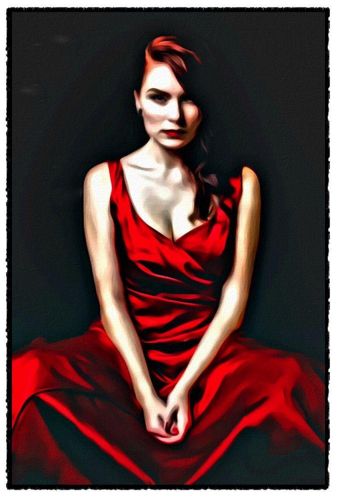 A Very Red Dress: A digital art work by Dan Newburn.