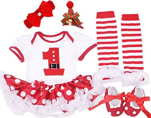 85c0470a6 CAKYE Baby Girls Christmas Outfits Infant Newborn 5PCs Santa Tutu ...