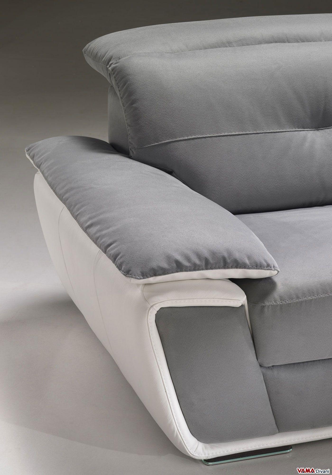 Divano In Pelle Con Relax.Divano Con Poggiatesta Relax In Pelle E Microfibra Luxury Sofa