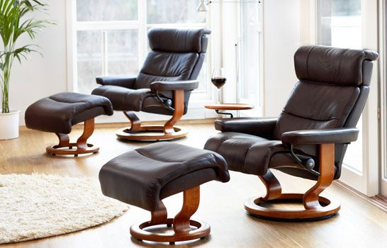 Stressless® Brown leather recliner chairs | Living room ...