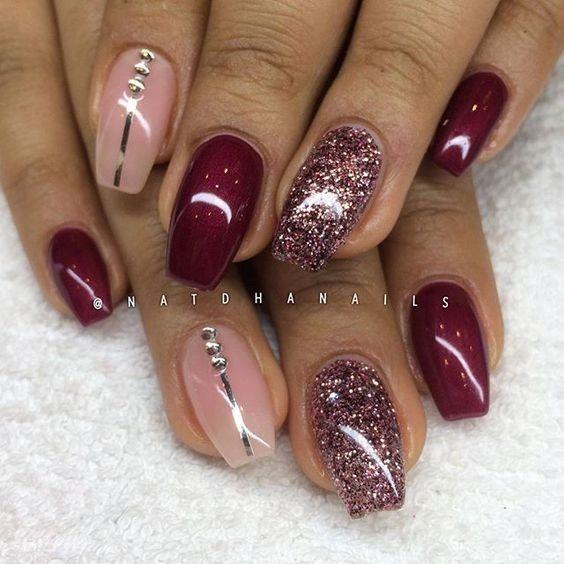 Pink Glitter Burgundy Coffin Nails Burgundy Nails Nail Designs Nails