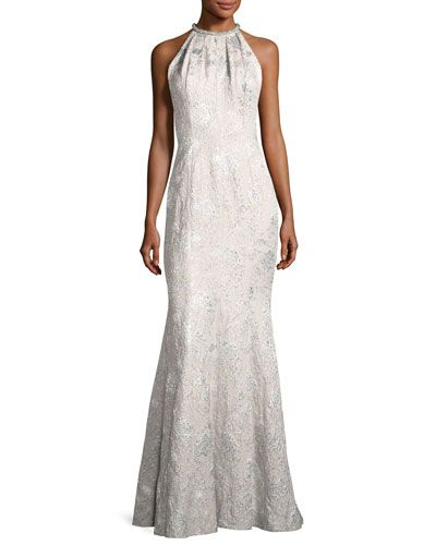 Sleeveless Metallic Brocade Gown Silver From Carmen Marc Valvo At Neiman Marcus Last Call Where You Ll Save As Much On Designer Fashions
