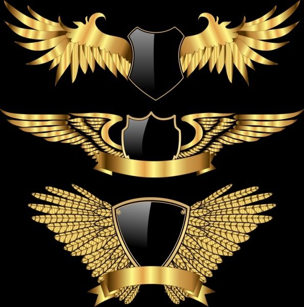 Logotypes Collection Wings Shield Icons Shiny Golden