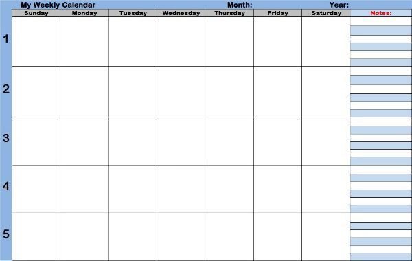 Weekly Calendar For Complete Overview Of The Weeks Of The Month