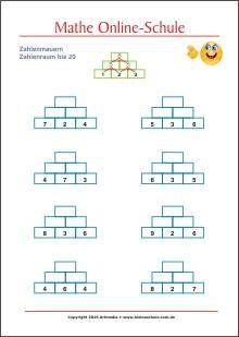 Rechenmauern Zahlenraum bis 20 - - Matheaufgaben für die 1. Klasse ...