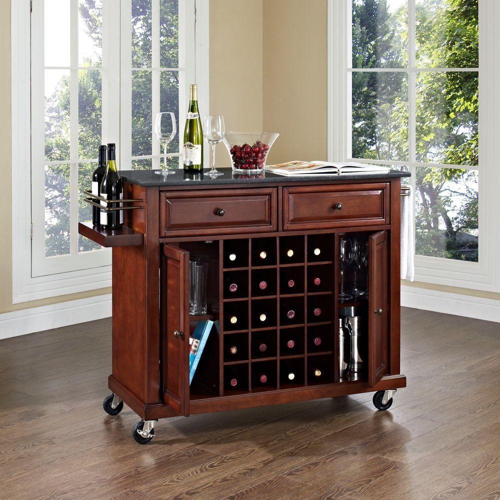 Crosley Solid Black Granite Top Wine Cart