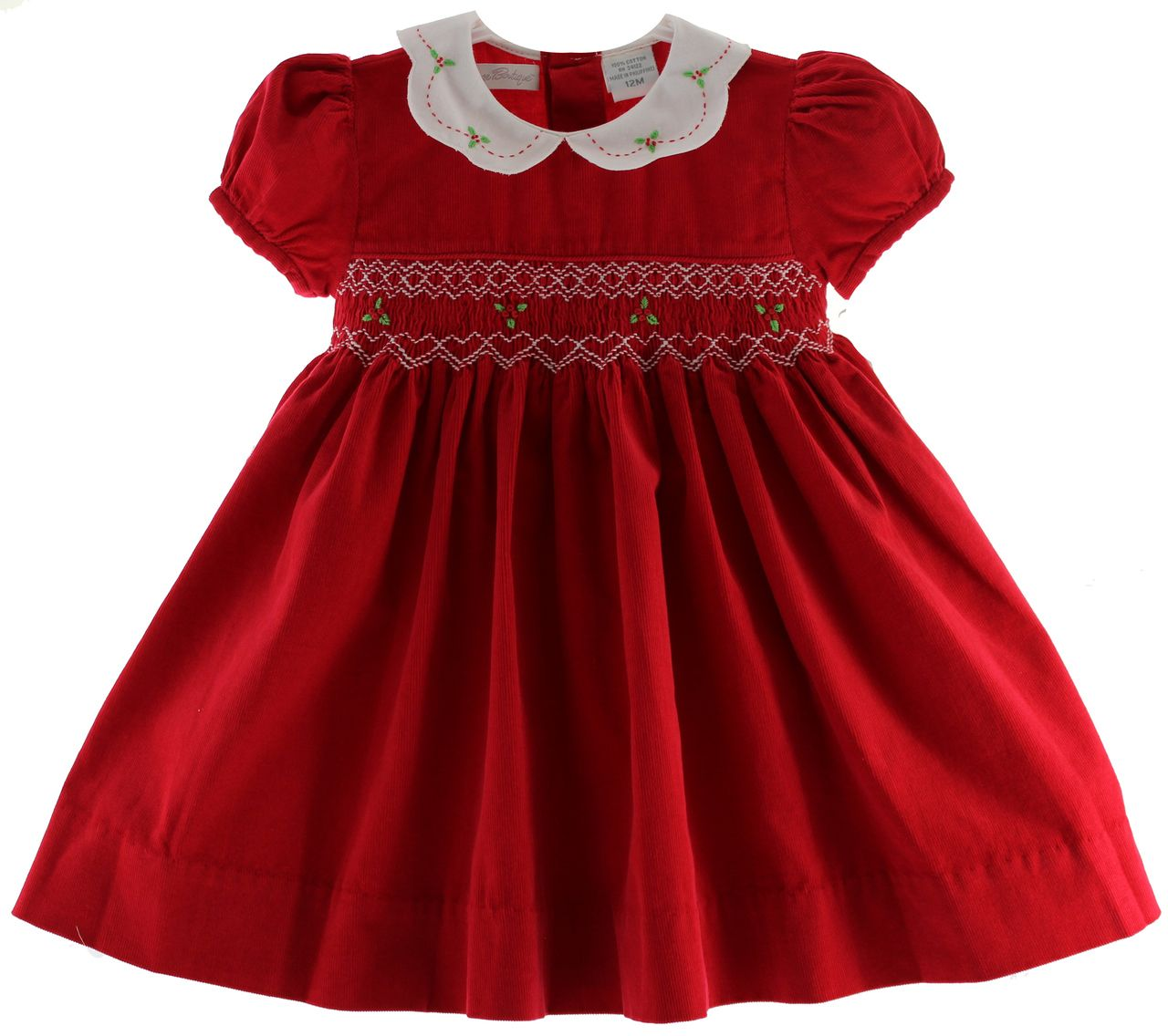 Girls Red Smocked Corduroy Christmas Dress with White Collar