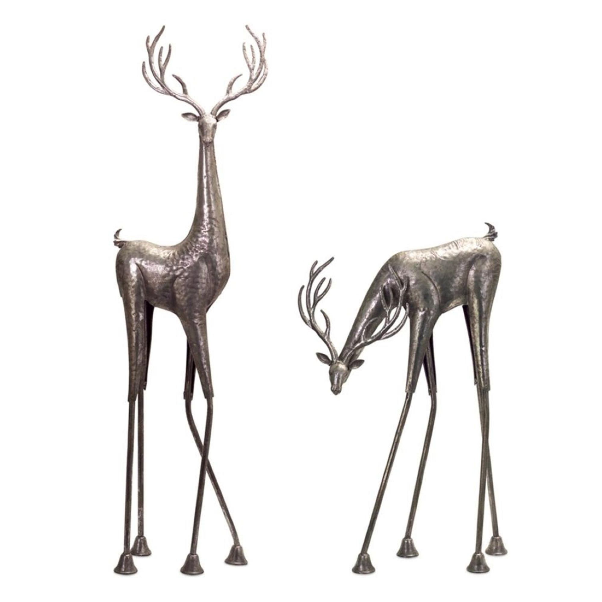Set Of 2 Decorative Rustic Metallic Silver Standing Deer With Textured Finish 45 Deer Decor Faux Deer Deer