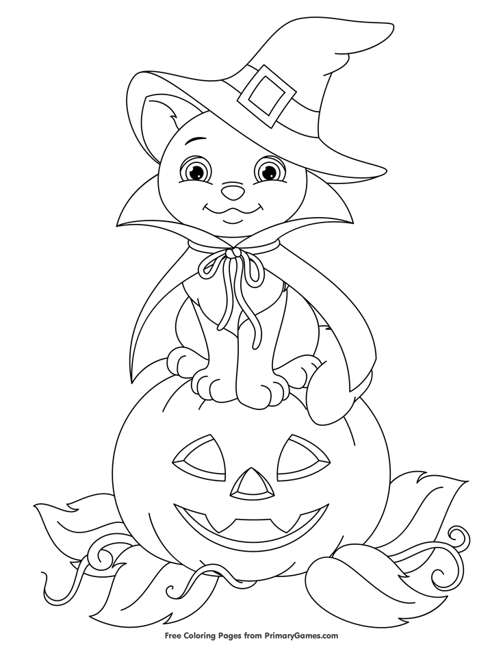 Cute Bat on Pumpkin Coloring Page • FREE Printable eBook