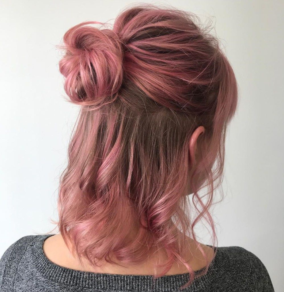 60 Trendiest Updos For Medium Length Hair Medium Length Hair Styles Half Bun Hairstyles Short Hair With Bangs