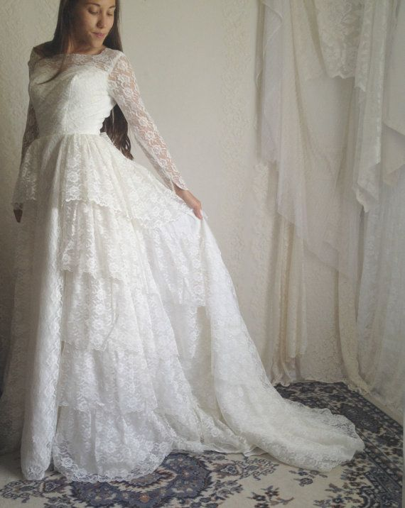 RESERVED 60s Lace Ruffle Wedding Dress // 50s Vintage White Long ...