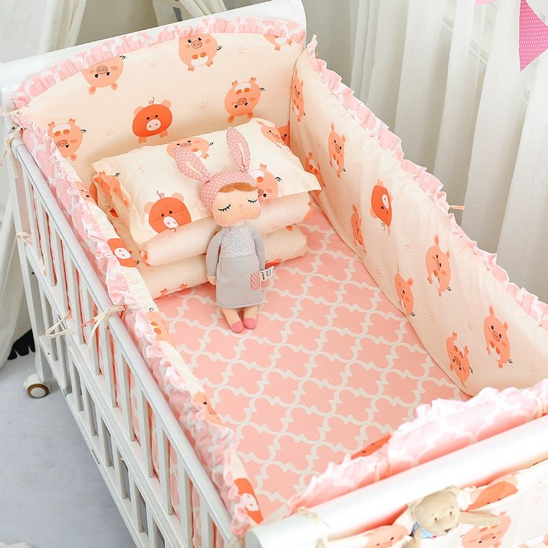 6pcs Set Bedding Set Cotton Toddler Baby Bed Linens In 2020 Baby