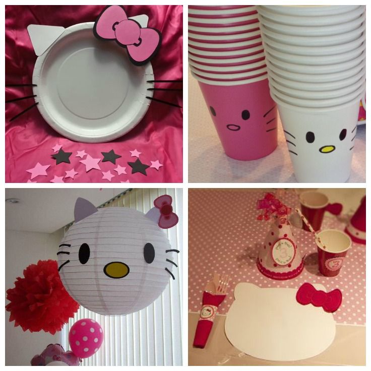DIY Hello Kitty Party Decor Cups Plates Placemat Lantern Abbys