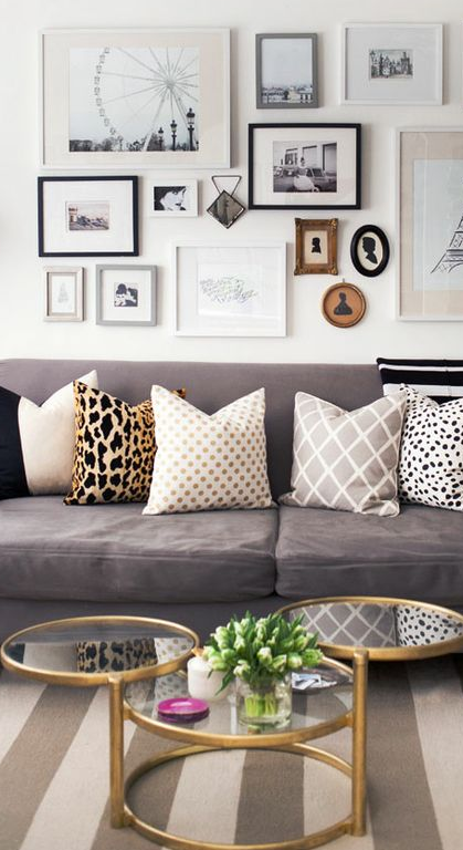 Living Room Furniture Picture Gallery Taupe Couch Alaina Kaczmarski S Lincoln Park Apartment Tour Where The Heart Is Striped Rug Grey Sofa Wall