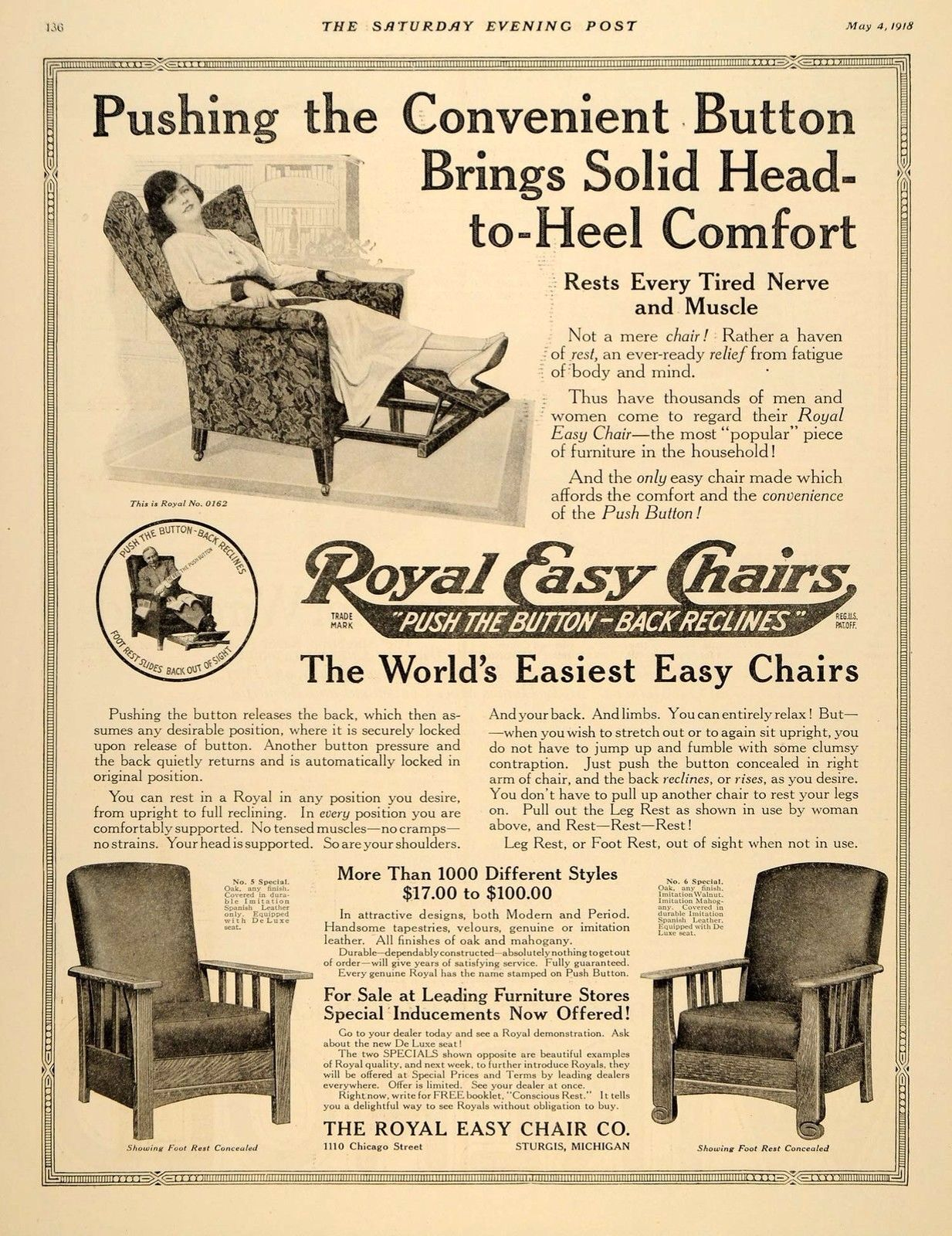 Superior 1918 Ad For Royal Push Button Chair
