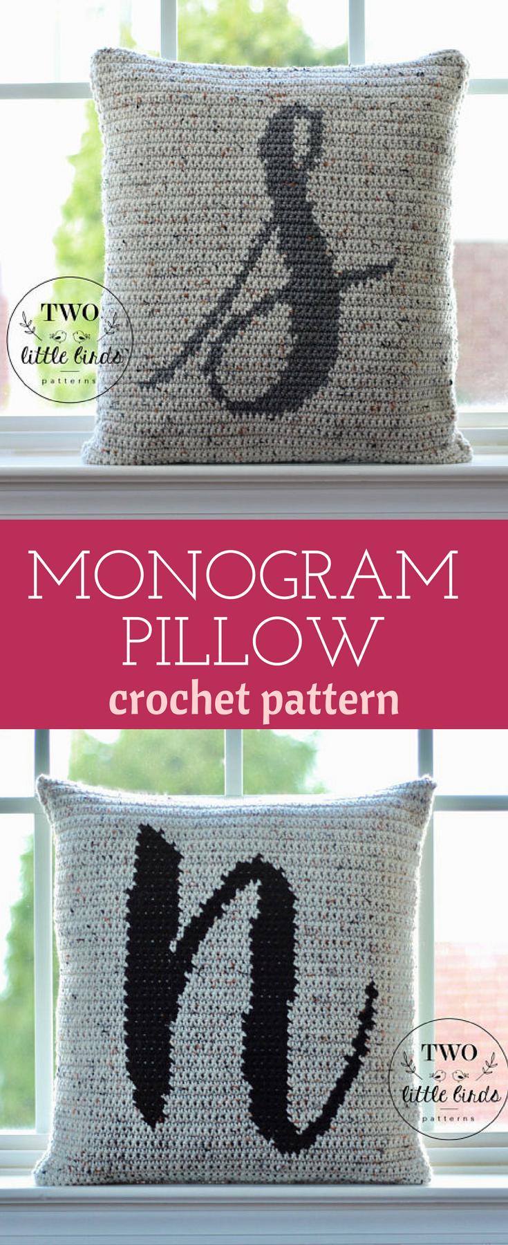 Crochet home decor crochet pattern monogram pillow crochet pillow ...