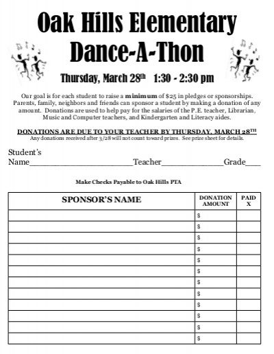 Danceathon pledge template NJHS Pinterest Template, Pta and - Price Sheet Template
