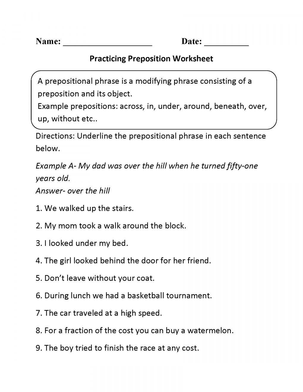 10+ Parts Of Speech Worksheets 5Th Grade Prepositional