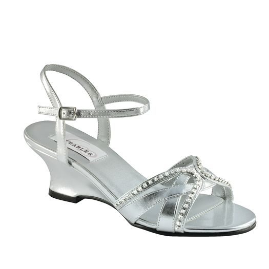 Glamorous Silver Metallic Prom Evening Wedding Wedge Heel Sandal With Glittering Jeweled Ornamants