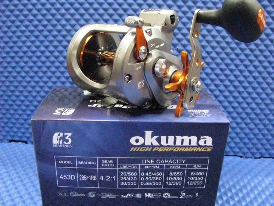 Fliegenrollen Rollen / Spulen Okuma Cold Water Linecounter Trolling Reel Cw-453D