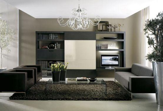 Modernes Wohnzimmer Design Dunkle Farben